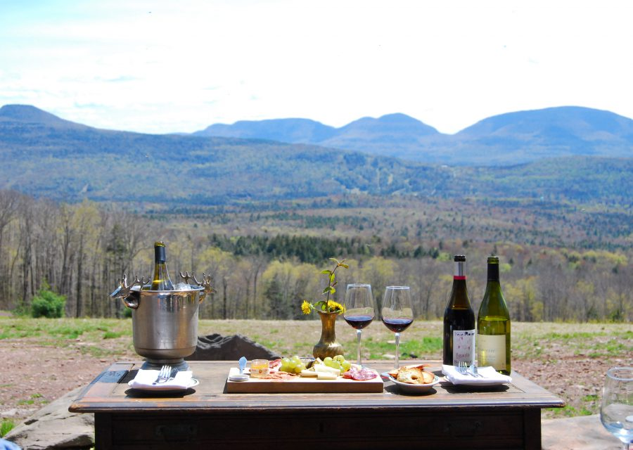 wine and cheese with mountain view
